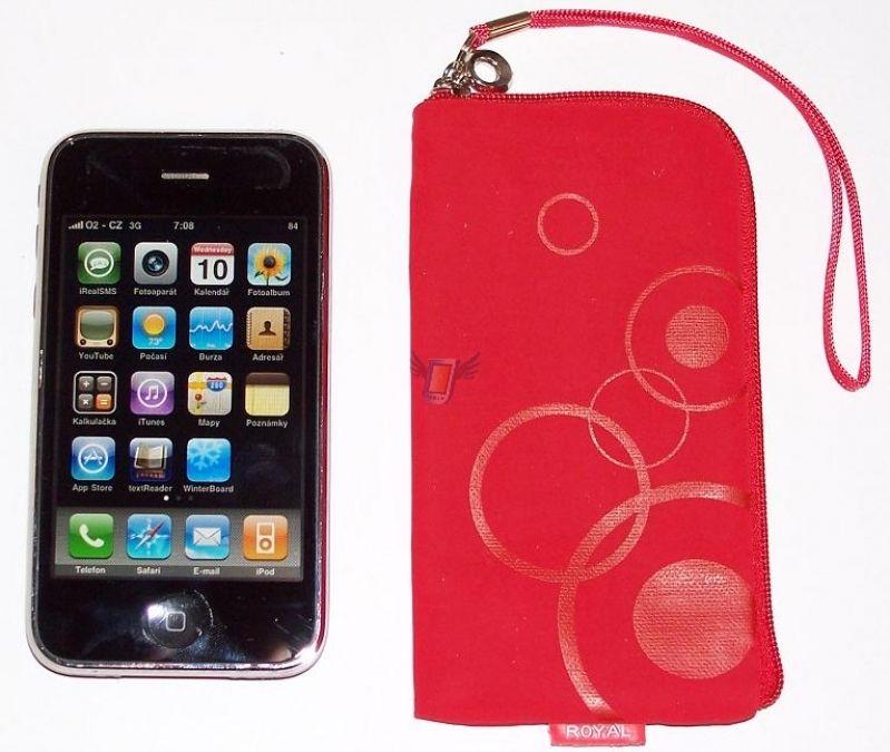 Dámské pouzdro Royal na zip pro iPhone 3G, červené