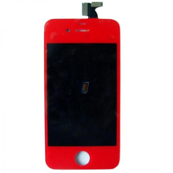 LCD displej s předním dotykovým sklem pro Apple iPhone 4, červený