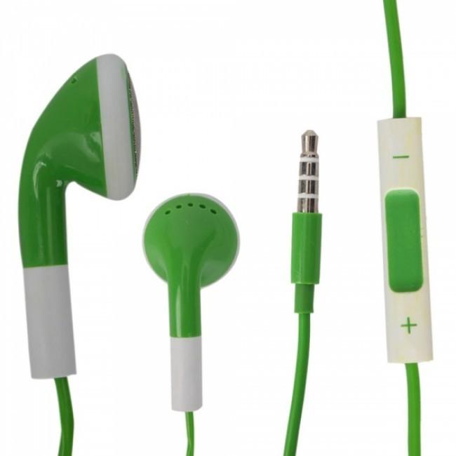 Sluchátka s mikrofonem a ovládáním hlasitosti pro iPhone 4, zelená
