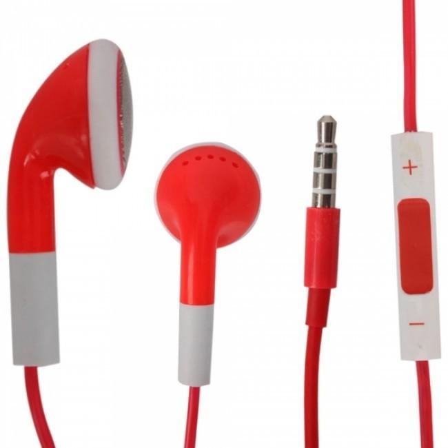Sluchátka s mikrofonem a ovládáním hlasitosti pro iPhone 4, červená