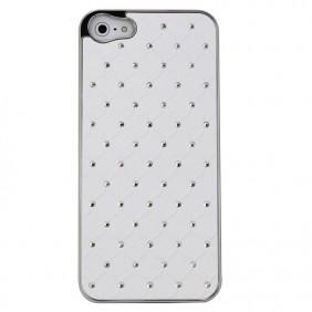 Pevný bílý kryt zdobený kamínky pro iPhone 4