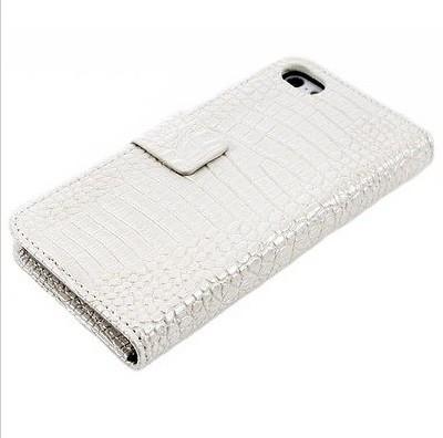 Kožené pouzdro Bílý krokodýl pro iPhone 5/5s