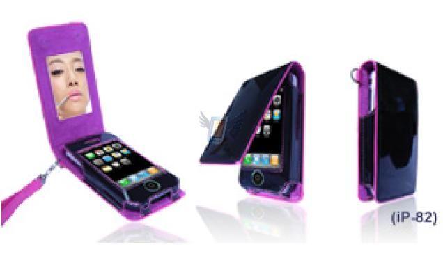 Kožené pouzdro se zrcátkem pro iPhone - fialové