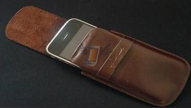 Kožené Ultra Slim deluxe pouzdro pro iPhone 3G, hnědé